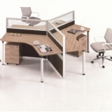 三人位板式办公桌