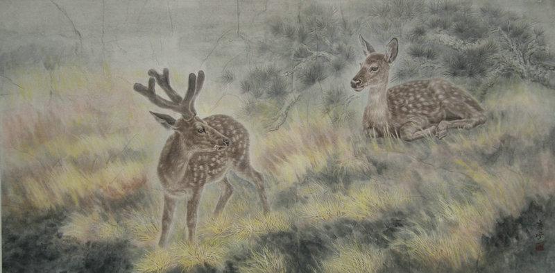 工笔白描动物鹿