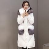 868特惠价冬季奢华渐变色狐狸毛中长款不对称衣摆韩版时尚修身羽绒服