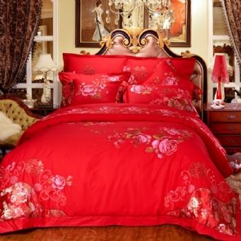 999元特价大红婚庆四件套韩版蕾丝大红四件套婚礼床上用品 七多件套床裙式