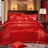 488元纯棉贡缎提花婚庆床上用品四件套大红色 婚庆套件