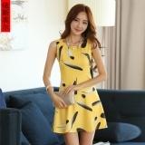 2016夏韩版无袖黄色气质通勤圆领连衣裙